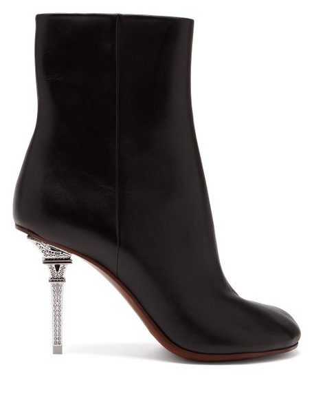 Vetements - Eiffel Tower Heel Leather Ankle Boots - Womens - Black