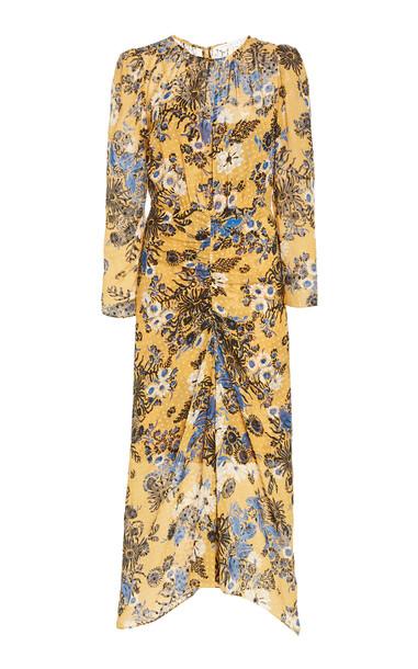 Veronica Beard Raylee Ruched Floral Silk-Blend Midi Dress in multi