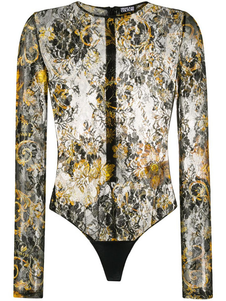 Versace Jeans Couture floral baroque print bodysuit in black