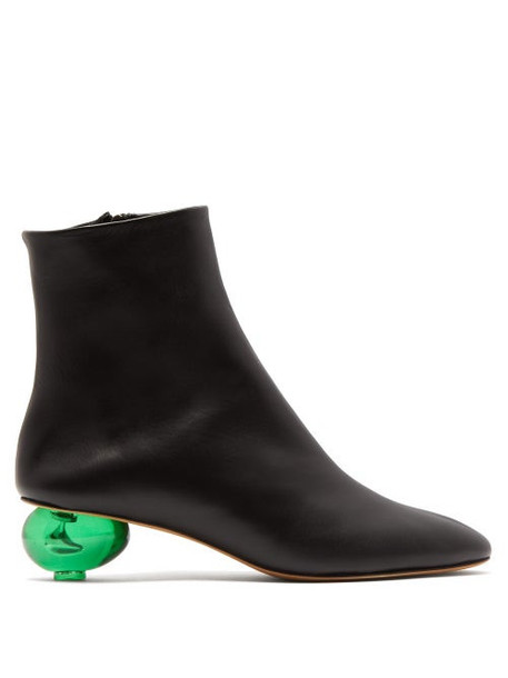 Gray Matters - Egg Heel Leather Ankle Boots - Womens - Black Green