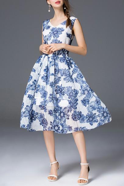 dress spring blue pattern floral girly feminine dezzal summer fashion elegant midi dress style