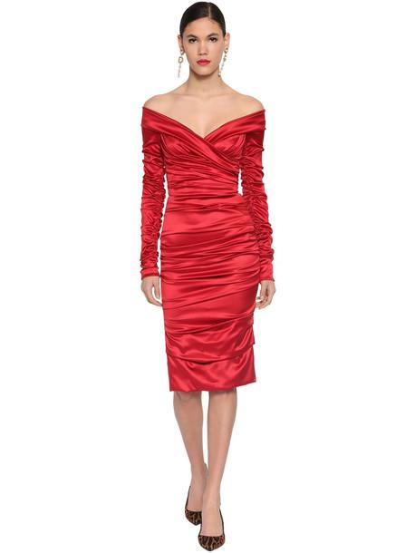 DOLCE & GABBANA Draped Stretch Satin Midi Dress in red