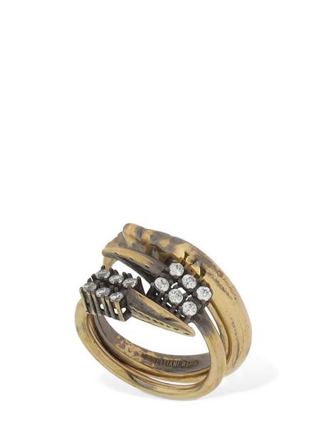 IOSSELLIANI Set O F 2 Open Rings W/ Crystal in gold