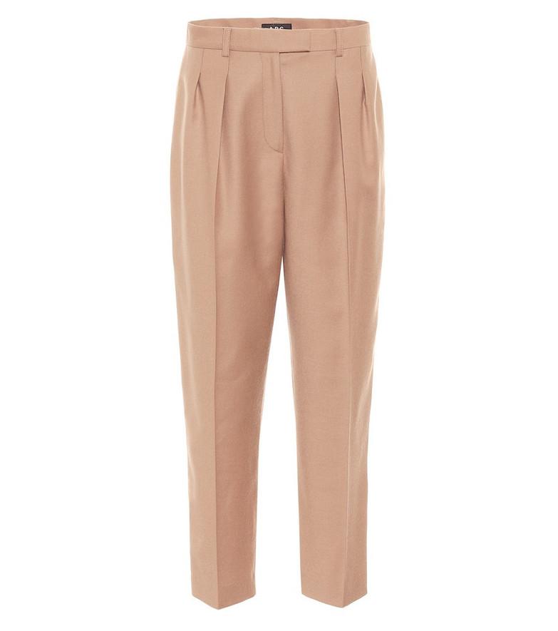A.P.C. Cheryl high-rise wool carrot pants in brown