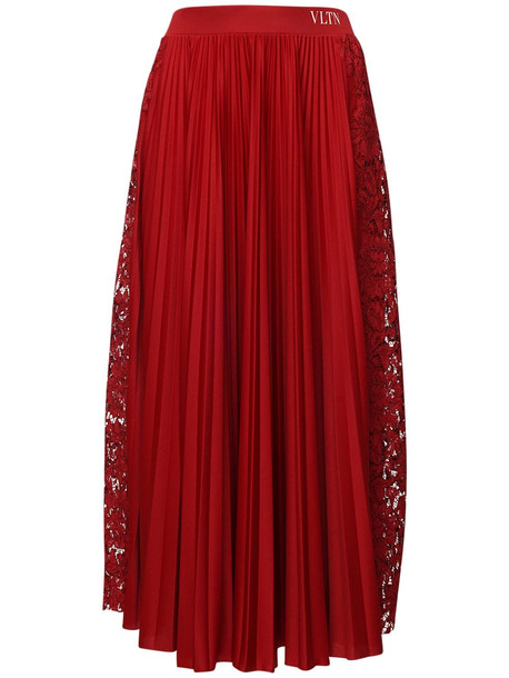 VALENTINO Pleated Tech Jersey & Lace Skirt in red