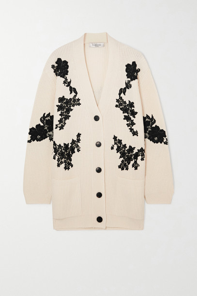 VALENTINO - Lace-paneled Ribbed Wool And Cashmere-blend Cardigan - White