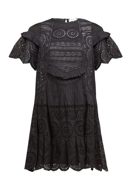 Sea - Zinnia Broderie Anglaise Cotton Mini Dress - Womens - Black