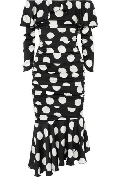 Dolce & Gabbana - Ruched Polka-dot Stretch-silk Satin Midi Dress - Black