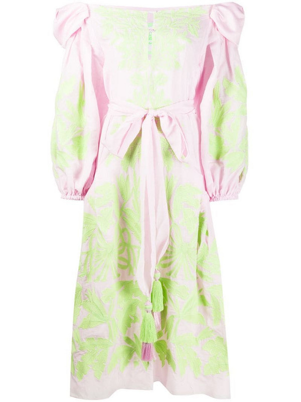 Yuliya Magdych Olive floral-embroidered dress in pink