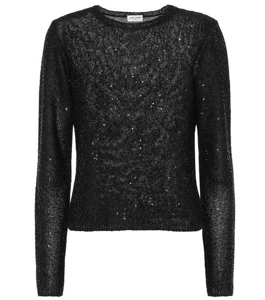 Saint Laurent Sequined top in black