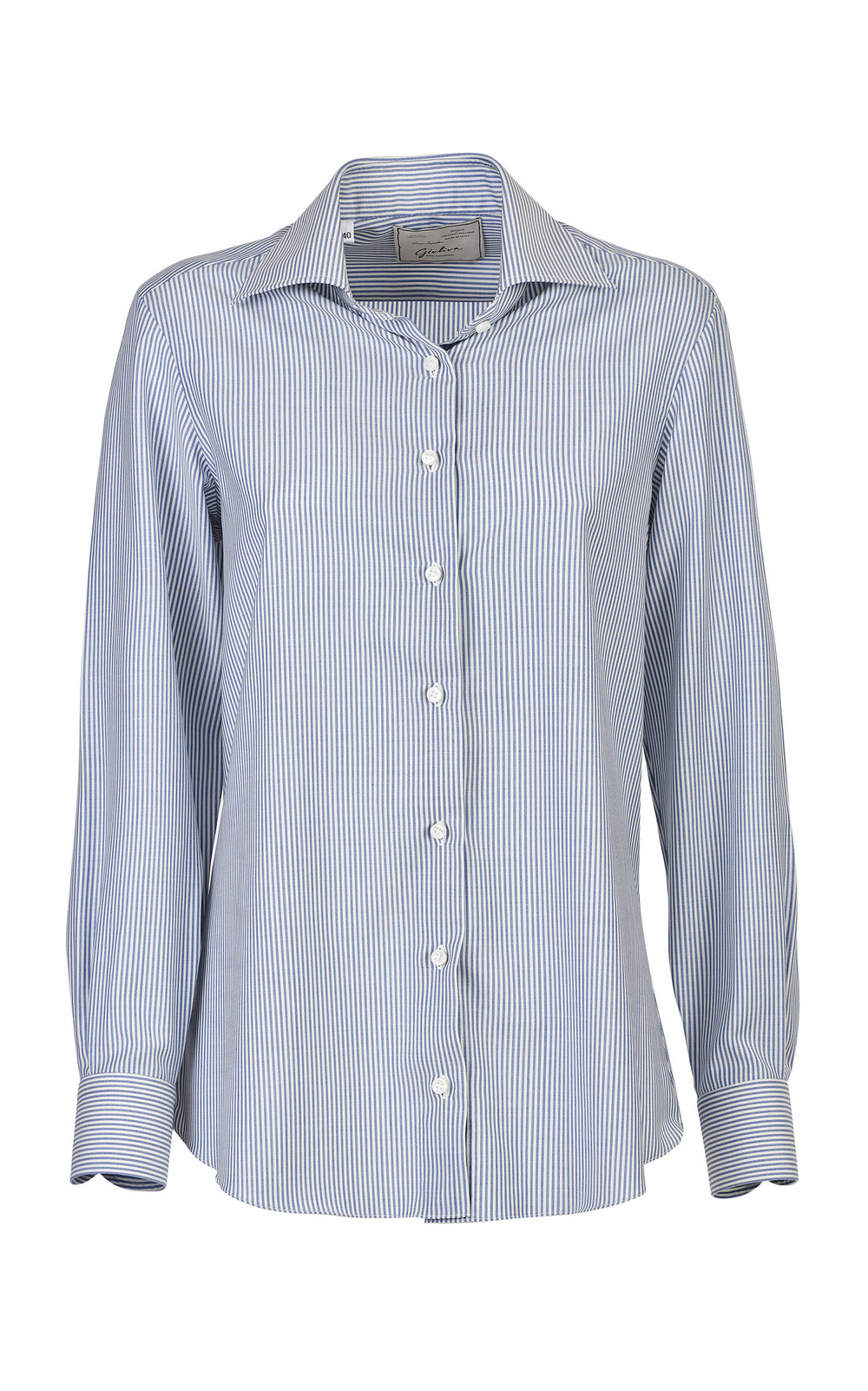 Giuliva Heritage Collection Pinstriped Wool Shirt in blue