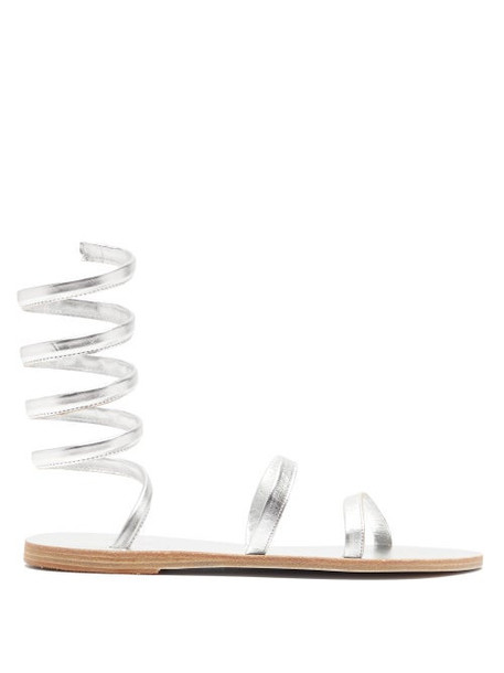 Ancient Greek Sandals - Offis Spiral-strap Metallic-leather Sandals - Womens - Silver