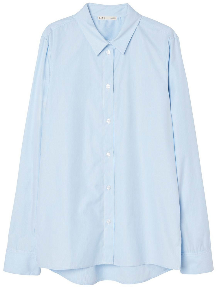 BITE STUDIO Crisp Organic Cotton Poplin Shirt in blue