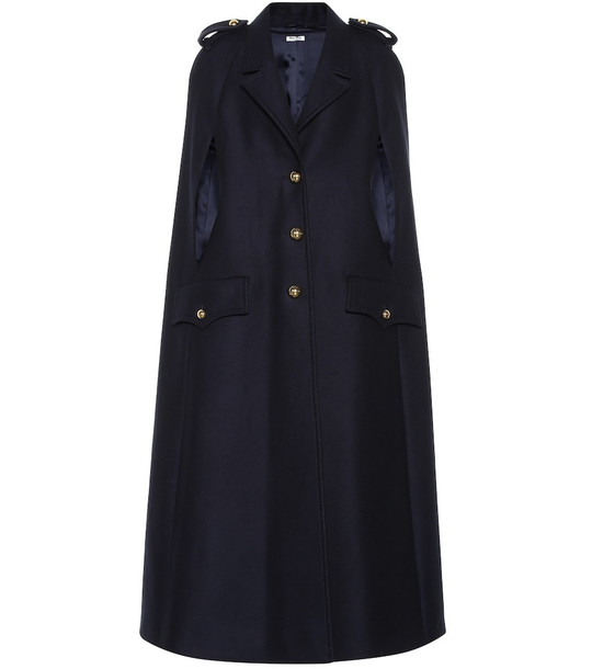 Miu Miu Virgin wool cape in blue
