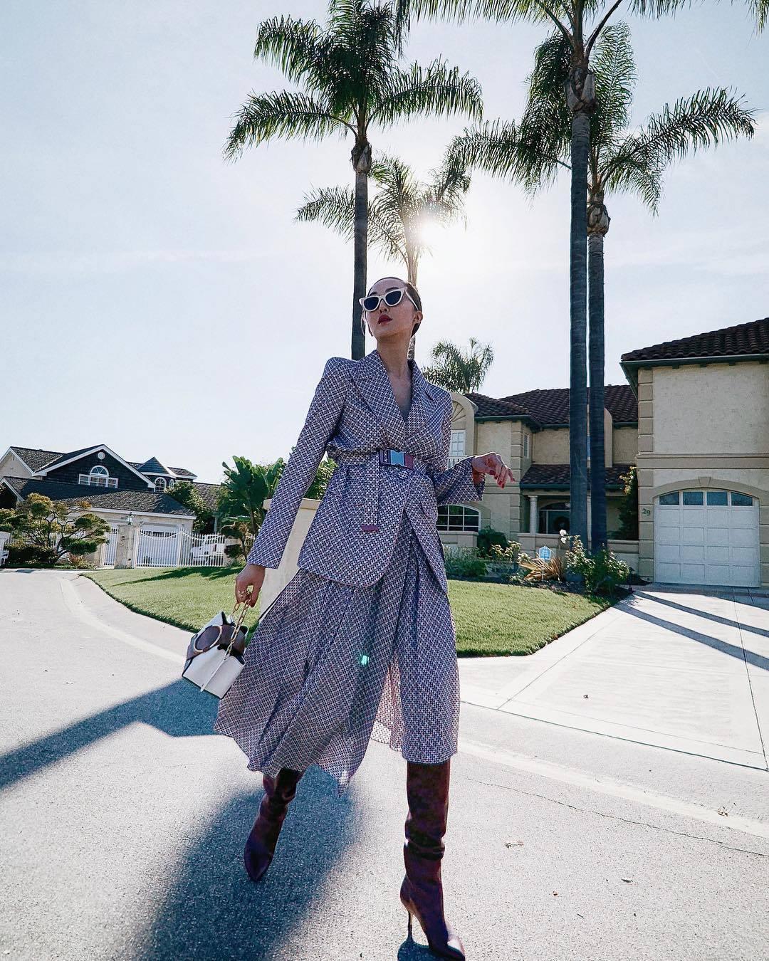 jacket blazer silk fendi midi skirt knee high boots heel boots handbag sunglasses