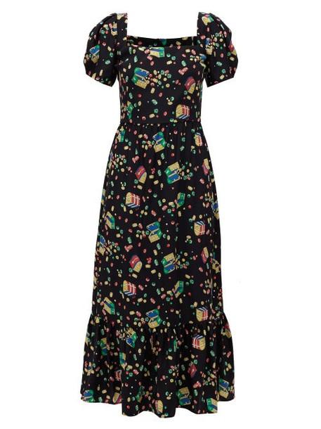 Hvn - Fromer Treasure Chest-print Silk-crepe Dress - Womens - Black Print