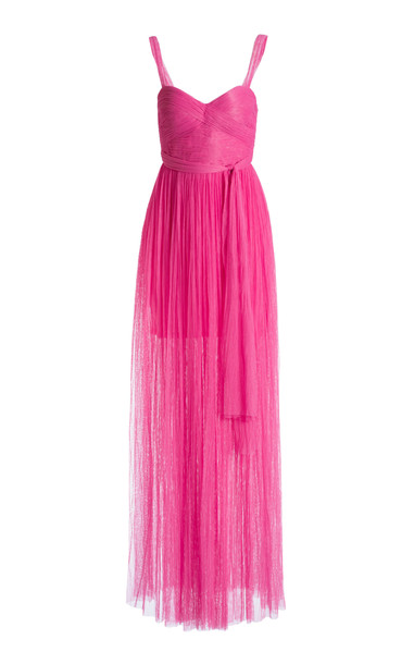 Maria Lucia Hohan Estel Pleated Tulle Maxi Dress in pink