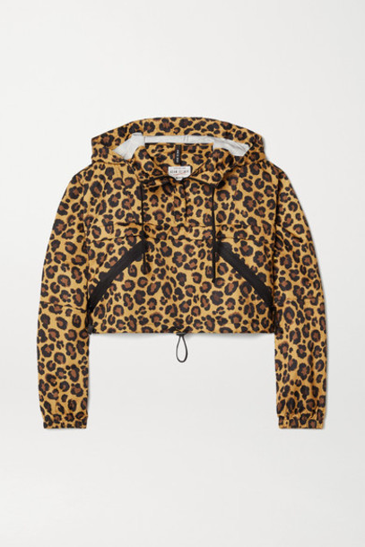 Adam Selman Sport - Cropped Leopard-print Shell Hoodie - Leopard print