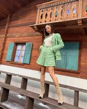 song of style,blogger,celebrity,jacket,tweed,tweed jacket,shorts,shoes,plaid shorts,High waisted shorts,plaid,heel boots,suede boots,turtleneck