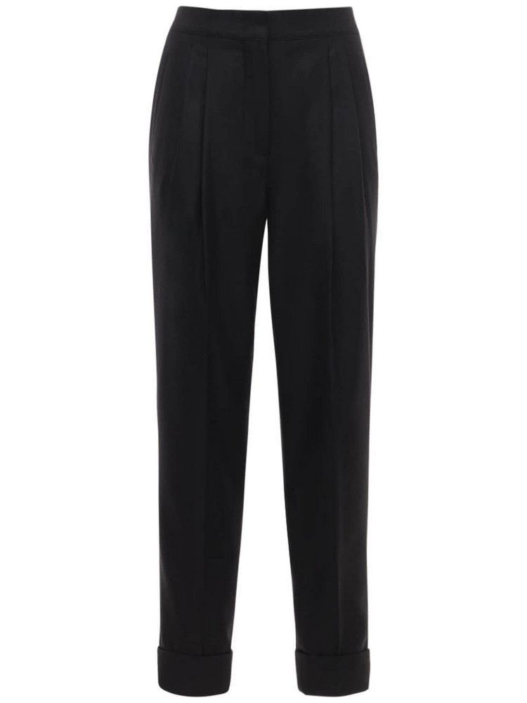CASASOLA High Waist Wool & Silk Pants in black