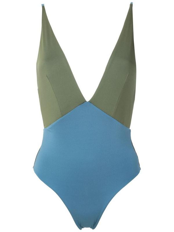 ESC panelled V-back swimsuit in blue