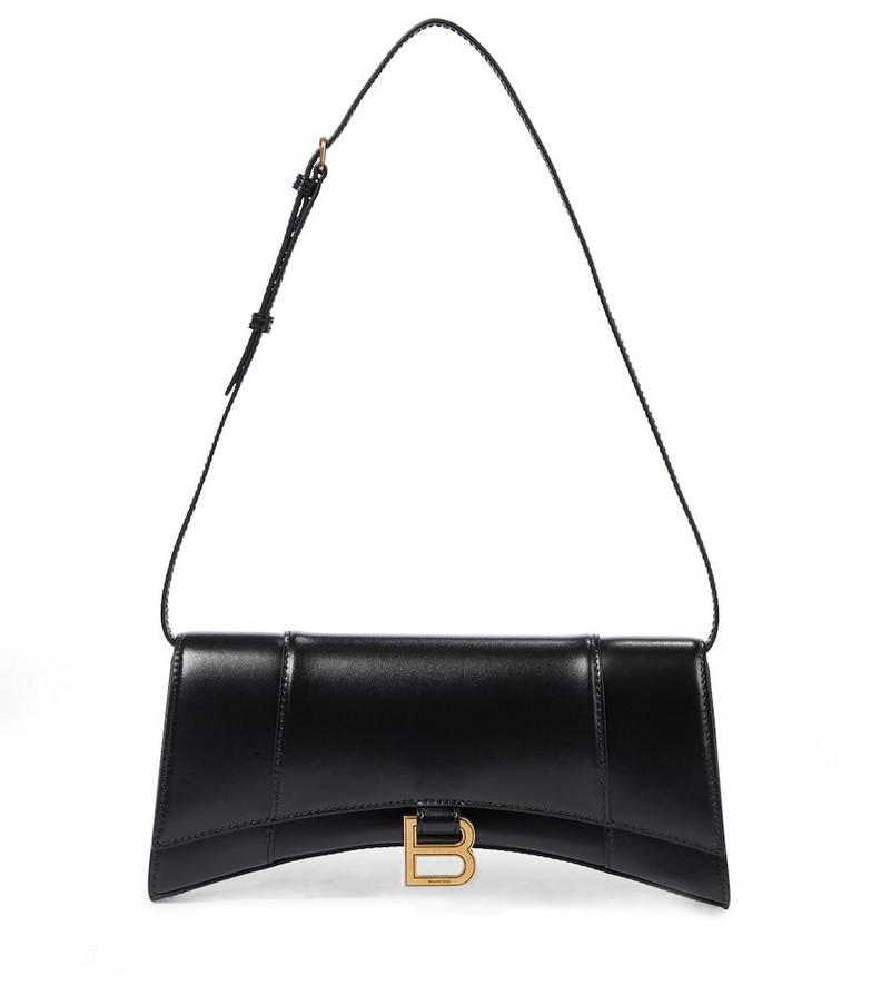Balenciaga Hourglass leather shoulder bag in black