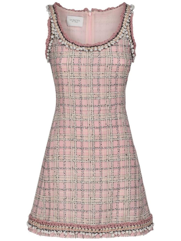 GIAMBATTISTA VALLI Wool Blend Check Bouclé Mini Dress