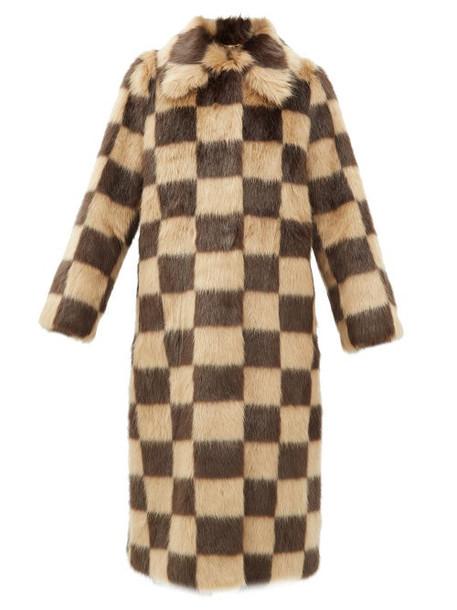 Stand Studio - Nino Checked Faux-fur Coat - Womens - Brown Beige
