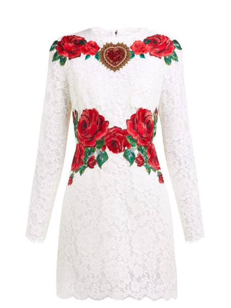 Dolce & Gabbana - Rose Embroidered Lace Mini Dress - Womens - White Multi