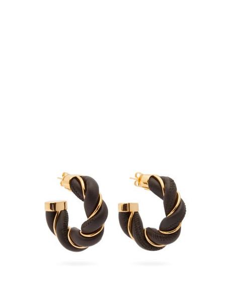 Bottega Veneta - Leather & 18kt-gold Plated Silver Hoop Earrings - Womens - Brown