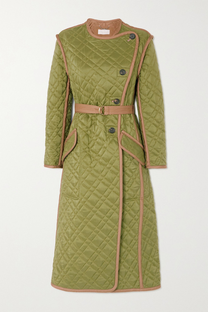 CHLOÉ CHLOÉ - Belted Quilted Shell Coat - Green