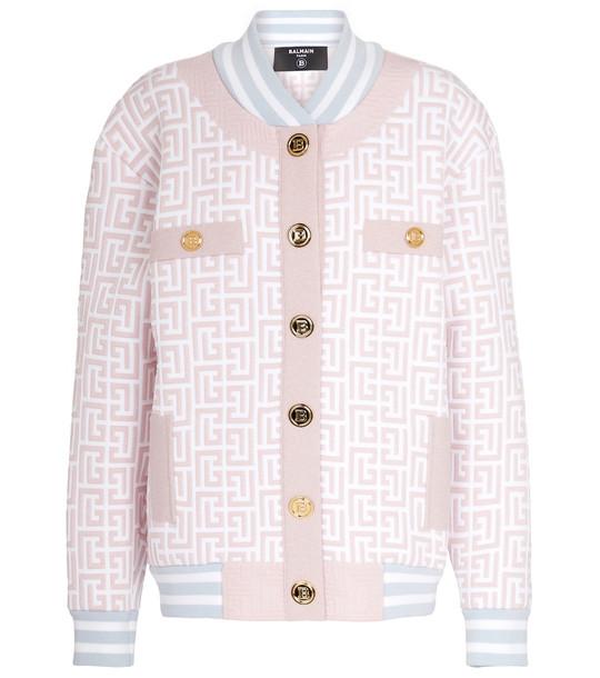 Balmain Monogram metallic knit bomber jacket in pink