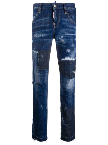 Dsquared2 distressed skinny jeans in blue