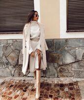dress,midi dress,turtleneck dress,knee high boots,long coat,double breasted