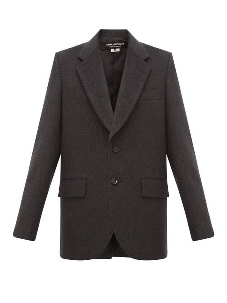 Junya Watanabe - Single Breasted Wool Blend Blazer - Womens - Dark Grey