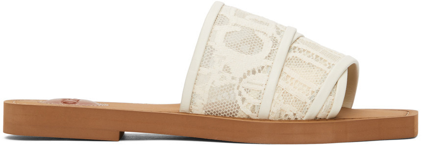 Chloé Chloé Off-White Lace Woody Flat Mules in beige