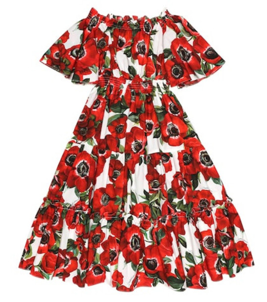 Dolce & Gabbana Kids Floral cotton dress in red