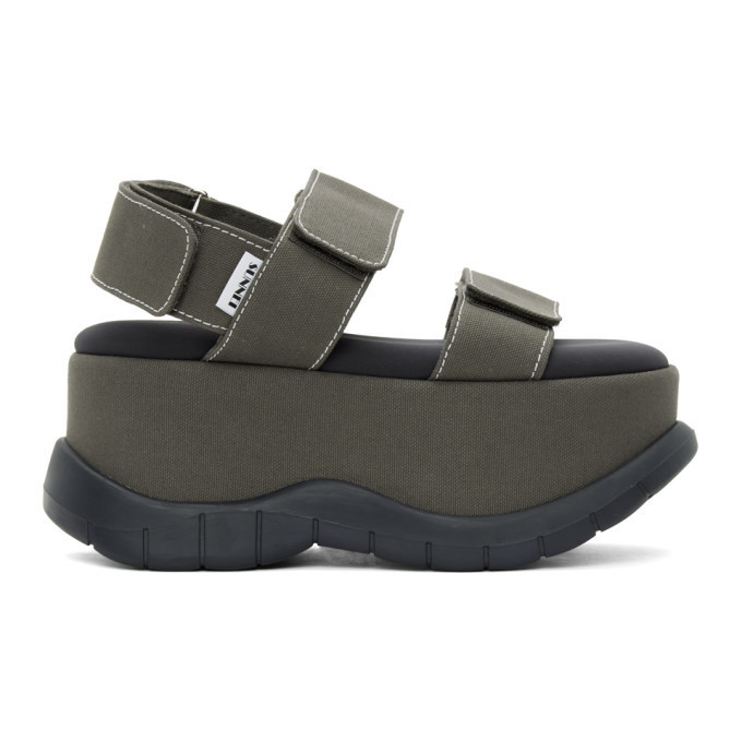 Sunnei Khaki Canvas Low Platform Sandals in grey