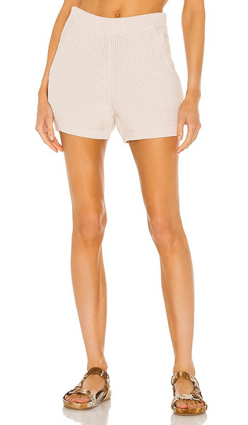 Weekend Stories Hilary Knit Shorts in Cream in natural