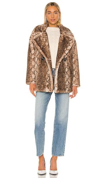Apparis Cecile Faux Fur Coat in Brown