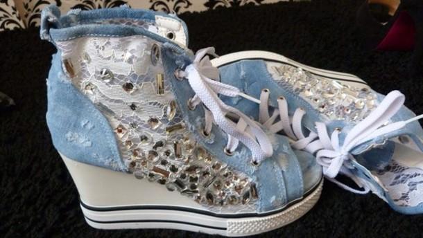 shoes denim wedge sneakers rhinestones crystal luxury fashion