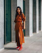 shoes,red boots,lace up boots,maxi dress,slit dress,shoulder bag