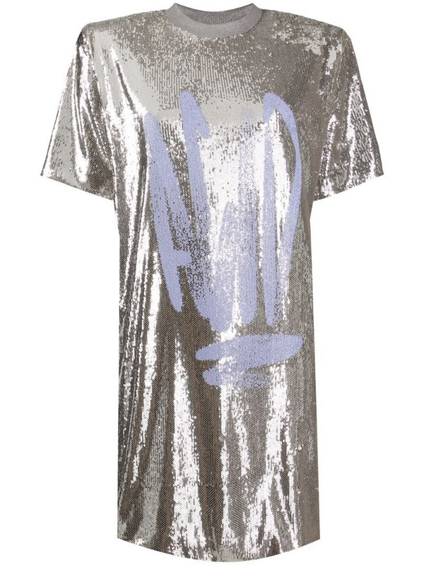 Off-White graffiti-print sequinned dress in grey