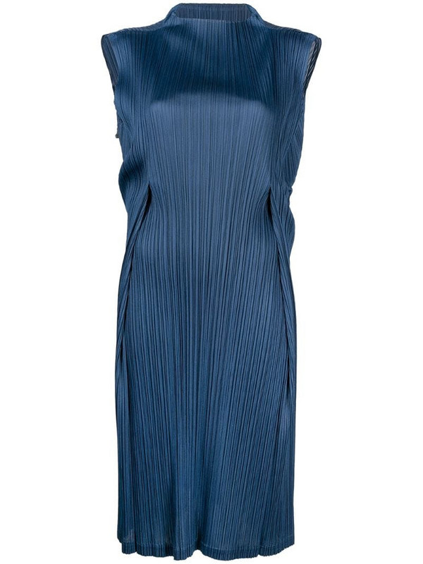 Pleats Please Issey Miyake pleat detail mock neck dress in blue