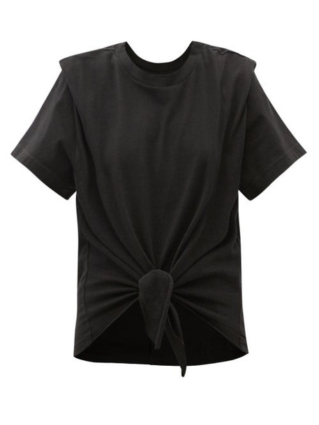 Isabel Marant - Zelito Tie-front Cotton T-shirt - Womens - Black