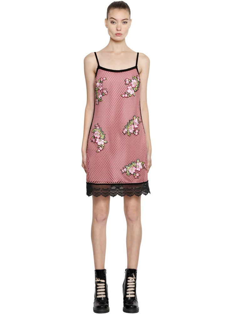 HOUSE OF HOLLAND Mini Mesh Dress W/ Floral Patches in pink
