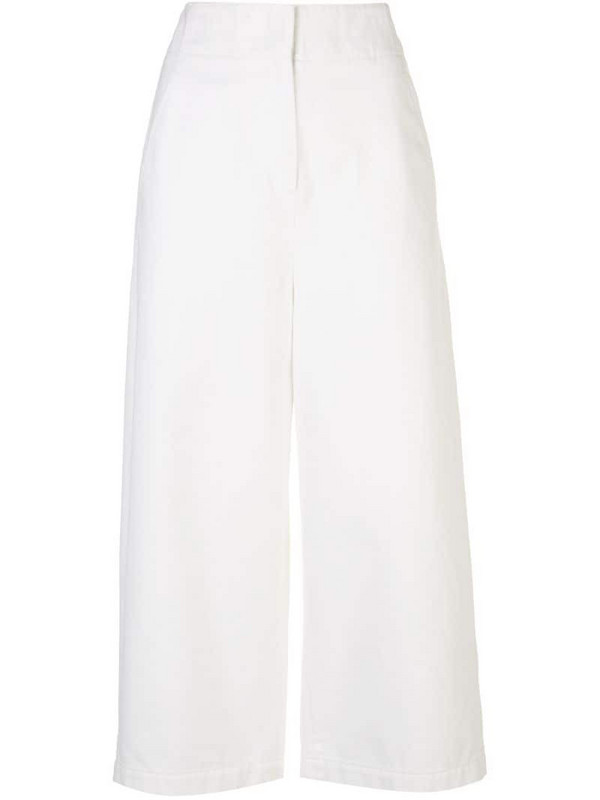Tibi wide-leg cropped jeans in white