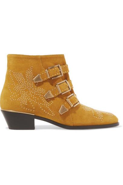 Chloé Chloé - Susanna Studded Suede Ankle Boots - Tan