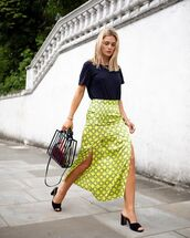 skirt,midi skirt,slit skirt,high waisted skirt,river island,black sandals,black t-shirt,bag