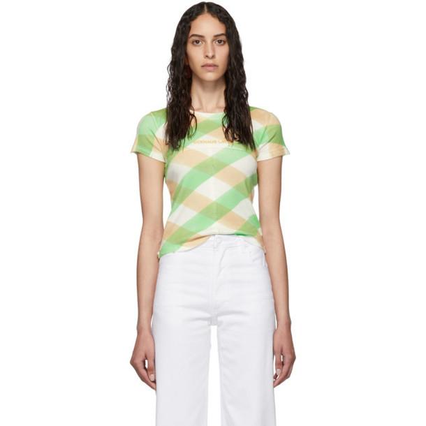 Eckhaus Latta White and Green Lattice Lapped Baby T-Shirt